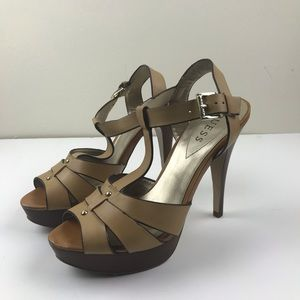Guess 8.5 Tan T Strap High Heel Open Toe Leather